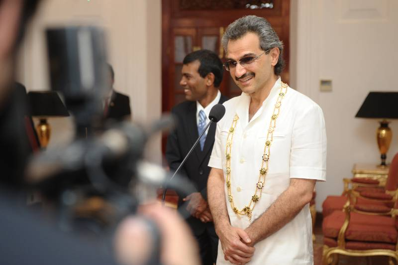 Prince Alwaleed bin Talal Al Saud during an event in Maldives to accept a state honour.