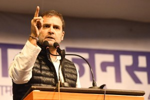 New Delhi: Congress leader Rahul Gandhi addresses during an election rally organised to campaign for the party candidate Poonam Azad, ahead of February 8 Delhi Assembly elections, at Delhi's Sangam Vihar on Feb 4, 2020. (Photo: IANS)