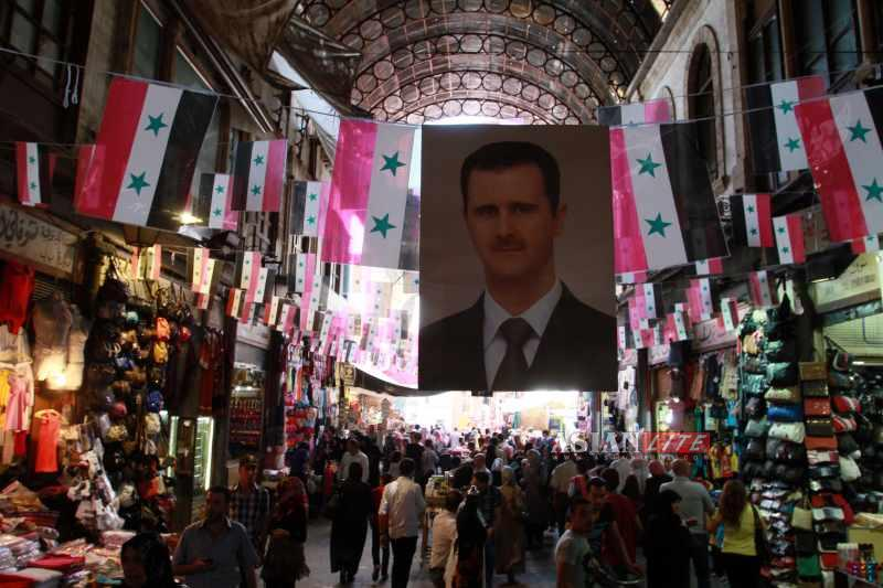 An election campaign in Damascus. Syrian voters overseas are scheduled to cast their ballots May 28; those inside the war-torn country are to vote June 3