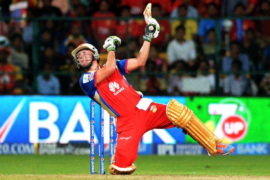 Royal Challengers Bangalore batsman AB de Villiers in action during the 31st match of IPL 2014 between Kings XI Punjab and Royal Challengers Bangalore at M Chinnaswamy Stadium in Bangalore