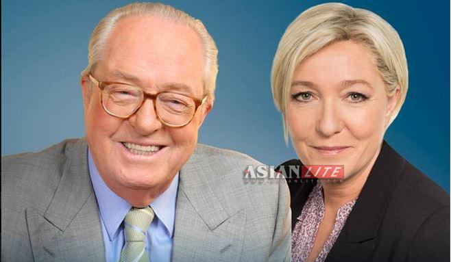 French Eurosceptic Marine Le Pen andd her father right-wing politician Le Pen