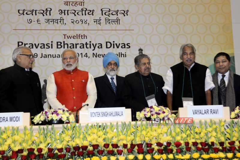 Modi attending the Pravasi Bharatiya Divas Sammelan in New Delhi when he was chief minister of Gujarat