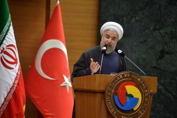 Iranian President Hassan Rouhani delivers a speech during his visit to the Union of Chambers and Commodity Exchanges of Turkey in Ankara, Turkey, June 10,2014. Rouhani paid a landmark visit to Turkey on June 9. During the visit, the two countries signed a series of agreements in the field of trade, investment and energy and agreed to boost trade volume to 30 billion U.S. dollars by 2015.
