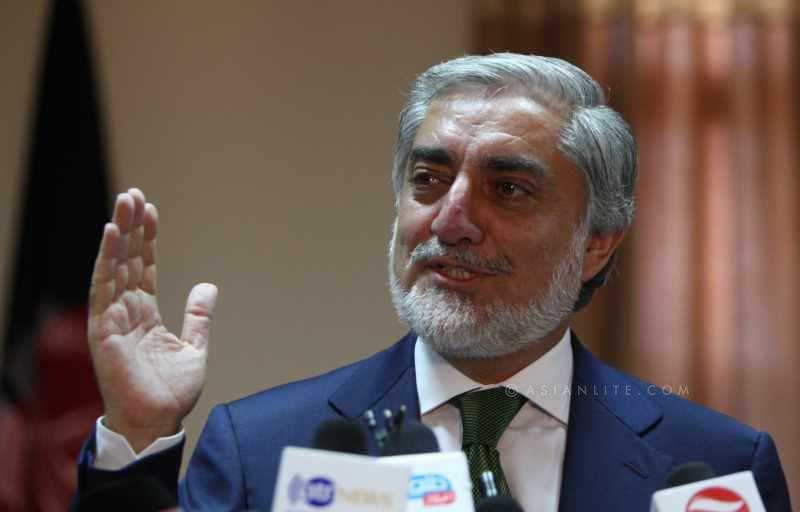 Afghan presidential candidate Abdullah Abdullah speaks during a press conference in Kabul, Afghanistan, June 18, 2014. Afghan leading presidential candidate Abdullah Abdullah on Wednesday accused the election commission of involvement in fraud and demanded its suspension.