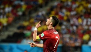 Portugal's Cristiano Ronaldo reacts during a Group G match between U.S. and Portugal of 2014 FIFA World Cup at the Arena Amazonia Stadium in Manaus, Brazil