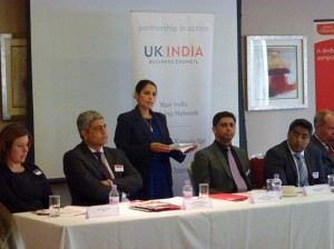 Priti Patil MP giving speech at 'Doing Business in India' event held in her constituency Marks Tey