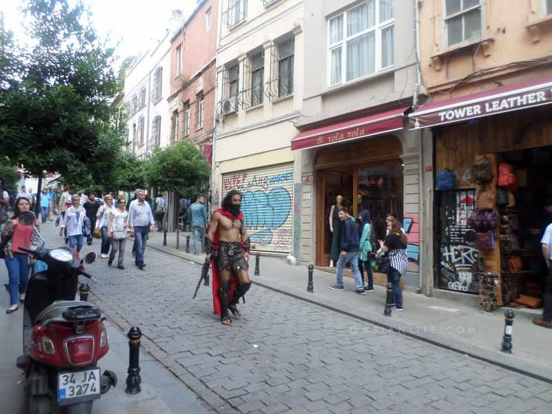 A 'gladiator' moves around the high street in Istanbul