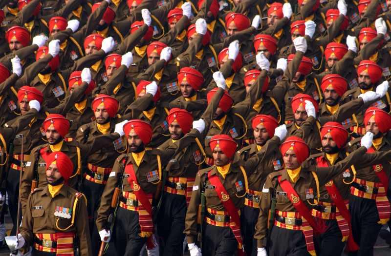 Indian Army troops on parade in New Delhi