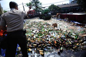 A file photo of anti-alcohol campaign at a police station in Jakarta, Indonesia