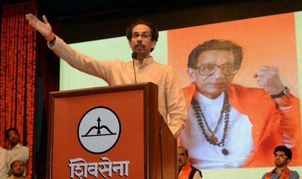 Shiv Sena chief Uddhav Thackeray addresses during a programme organised on the 48th anniversary of Shiv Sena in Mumbai