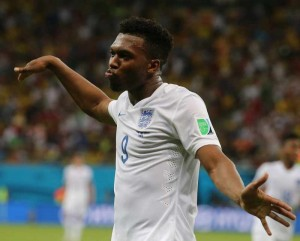 England's Daniel Sturridge celebrates for his goal during a Group D match between England and Italy of 2014 FIFA World Cup at the Arena Amazonia Stadium in Manaus, Brazil