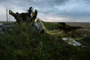The debris at the crash site of a passenger plane near the village of Grabovo, Ukraine. A Malaysian flight crashed Thursday in eastern Ukraine near the Russian border, with all the 280 passengers and 15 crew members on board reportedly having been killed.