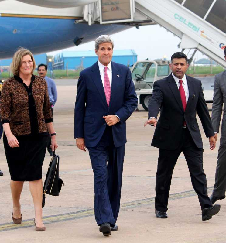 US Secretary of State John Kerry with Indian Joint Secretary (Americas) Vikram Kumar Doraiswami on his arrival at Air Force Station, Palam in New Delhi  (File)