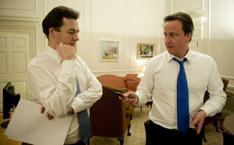 British Prime Minister David Cameron with Chancellor George Osborne.