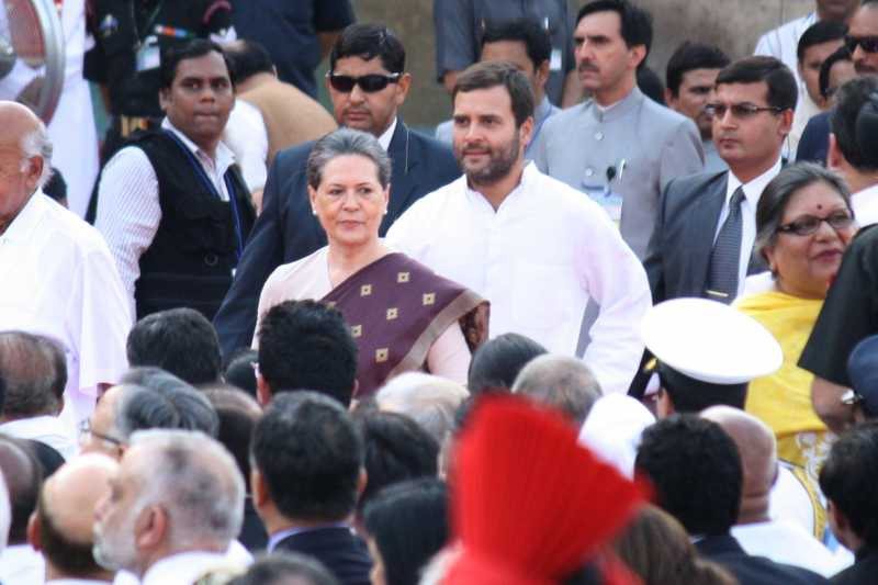 Congress chief Sonia Gandhi and Congress vice-president Rahul Gandhi during swearing-in ceremony of Prime Minister of India and the Council of Ministers at Rashtrapati Bhavan in New Delhi on May 26, 2014. (Photo: Amlan Paliwal/IANS)