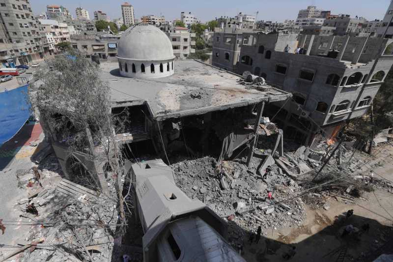 Photo taken  shows the damage of Al-Sousi mosque that was destroyed in an Israel strike, at the Shati refugee camp, in the northern Gaza City