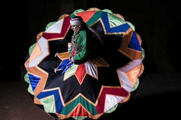 A dancer spins skirt as he performs Sufi dance at a night show marking the holy fasting month of Ramadan, in Old Cairo, Egypt