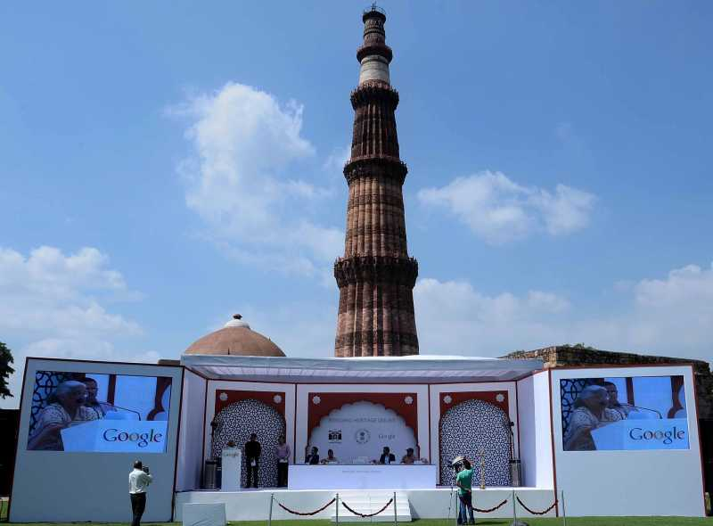 Ministry Of Culture and Archaeological Survey of India partner with Google Inc. to make 100 iconic heritage sites of India available online for the world at Qutb Minar in New Delhi on Oct. 3, 2013. (Photo: IANS)