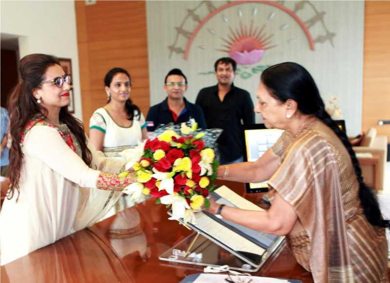 Actress Rani Mukherjee during a meeting with Gujarat Chief Minister Anandiben Patel in Gandhinagar.