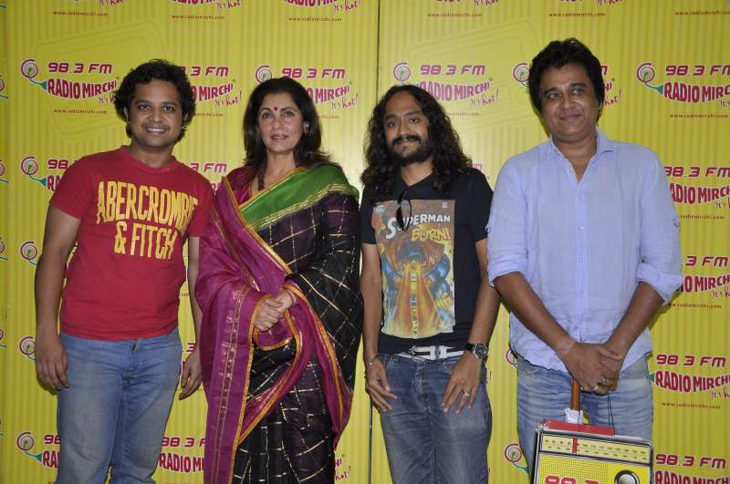 Actors Anand Tiwari, Dimple Kapadia, filmmaker Gurmeet Singh and actor Manu Rishi during the promotion of their film What The Fish in Mumbai on Dec.6, 2013. (Photo: IANS)