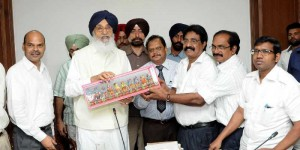 Punjab Chief Minister Parkash Singh Badal during a meeting with progressive fish farmers in Chandigarh