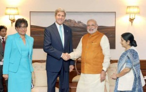 The US Secretary of State, Mr. John Kerry and the US Secretary of Commerce, Ms. Penny Pritzker calling on the Prime Minister, Shri Narendra Modi, in New Delhi on August 01, 2014. The Union Minister for External Affairs and Overseas Indian Affairs, Smt. Sushma Swaraj is also seen.