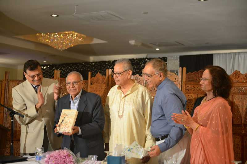 """Former Sahitya Akademi President Gopi Chand Narang (second from left) releasing """"The Treasure"""", a free verse translation of Ghalib's poems by Surinder Deol (Second from right)"""