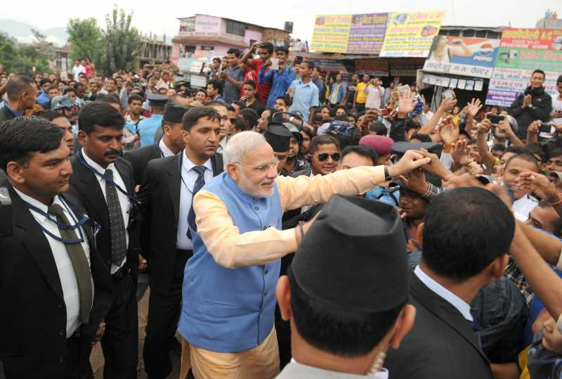 The Prime Minister, Shri Narendra Modi with the Nepalese peoples, in Kathmandu, Nepal on August 03, 2014.