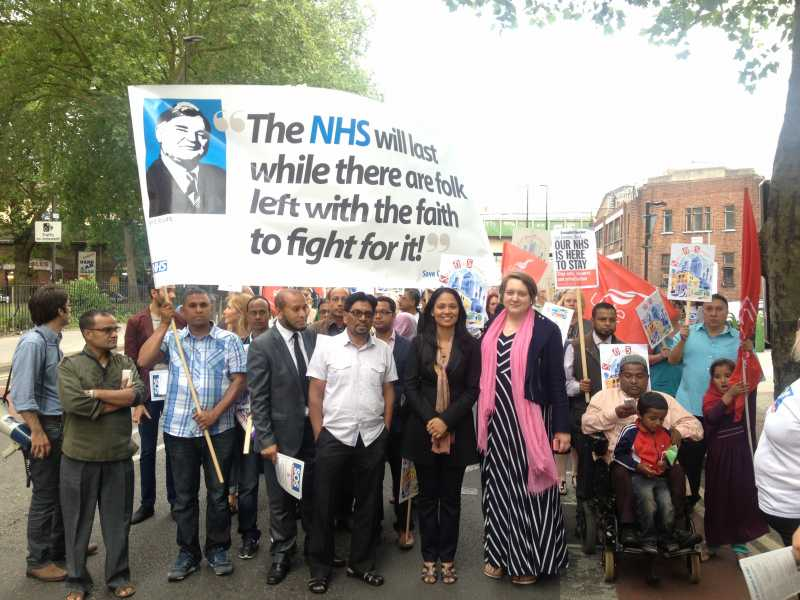 Tower Hamlets MP Rushanara Ali leading the protest against the closure of GP surgeries