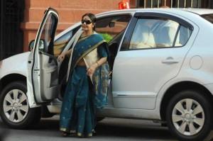 External Affairs Minister Sushma Swaraj arrives at the Parliament in New Delhi