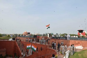 Dress rehearsal for the Independence Day celebrations at Red Fort in New Delhi on Aug. 13, 2014. (Photo: IANS)