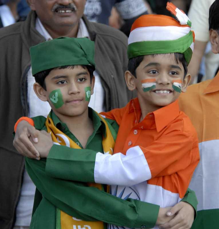 Fans cheer during the India-Pakistan 2nd Twenty20 International cricket match at Sardar Patel Stadium, Motera, Ahmedabad. (Photo: IANS)