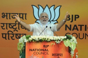 Prime Minister Narendra Modi addressing at the BJP National Council meeting in New Delhi on Aug 9, 2014. (Photo: IANS)