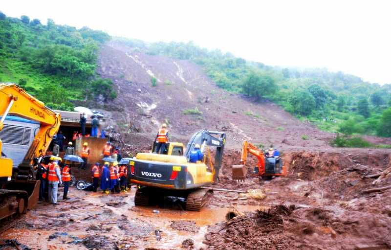Rescue operations underway at Malin village, near Pune which was buried in a landslide