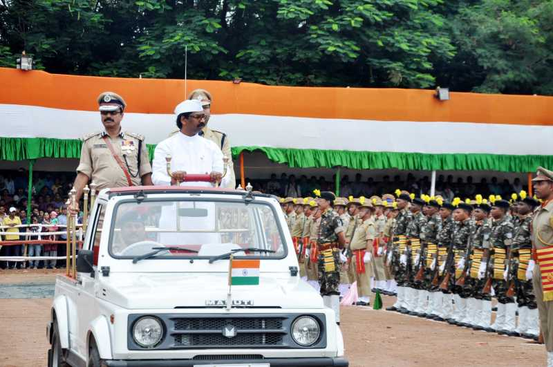 Jharkhand Chief Minister Hemant Soren inspects Guard of Honour during Independence Day celebrations in Ranchi
