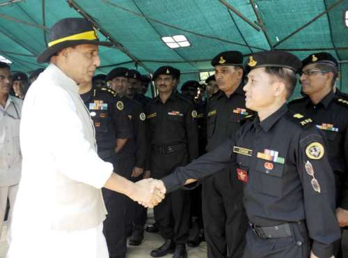 Union Home Minister Rajnath Singh interacts with NSG Commandos at NSG Headquarters in Manesar, Haryana.FILE PHOTO