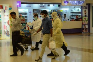 A man who is suspected to have contracted Ebola virus being taken to RML Hospital from IGI Terminal in New Delhi