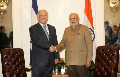 Prime Minister Narendra Modi during a meeting with Prime Minister of Israel, Benjamin Netanyahu in New York, United States of America