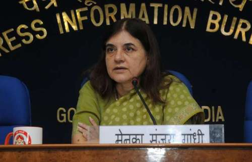 Union Minister for Women and Child Development, Maneka Sanjay Gandhi addresses a press conference, in New Delhi