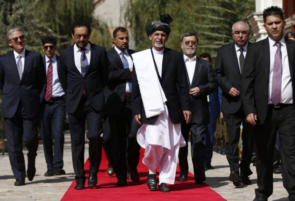 Afghan new President Ashraf Ghani Ahmadzai arrives for his inauguration ceremony at the presidential palace in Kabul