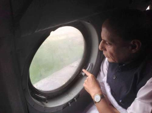 Union Home Minister, Rajnath Singh making an aerial survey of the flood affected areas in Jammu and Kashmir on September 06, 2014. (Photo: IANS/PIB)