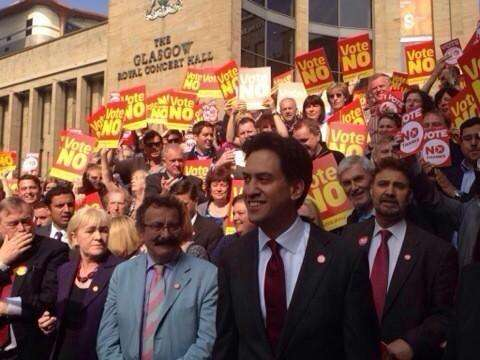 Afzal Khan MEP campaigns along with Labour leader Ed Miliband and others in Glasgow