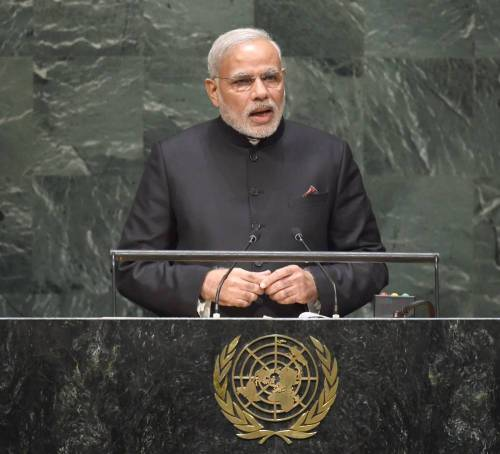 The Prime Minister, Shri Narendra Modi addressing the 69th Session of the United Nations General Assembly, in New York