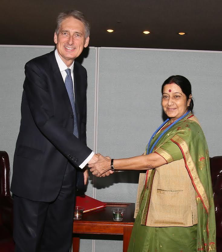 India's External Affairs Minister Sushma Swaraj with  Philip Hammond