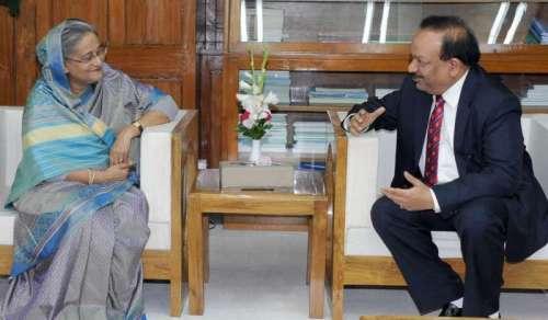 Union Minister for Health and Family Welfare, Dr. Harsh Vardhan calls on Bangladesh Prime Minister , Sheikh Hasina in Dhaka, Bangladesh