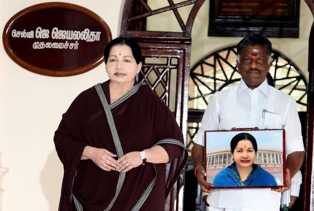 Tamil Nadu Chief Minister J jayalalithaa and Tamil Nadu Finance Minister O Panneerselvam at Tamil Nadu Secretariat (File)