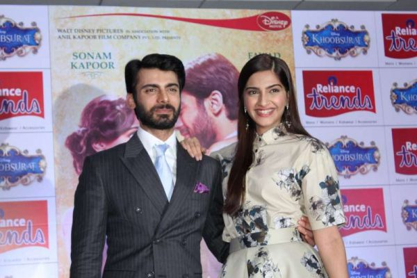 Actors Sonam Kapoor and Fawad Khan during the special screening of film Khoobsurat for Make a Wish Foundation for Kids, in Mumbai, on September 19, 2014. (Photo: IANS)