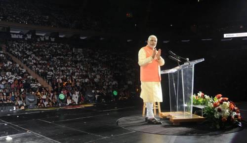The Prime Minister, Shri Narendra Modi addressing the Indian Community, at Madison Square Garden, in New York. FILE PHOTO