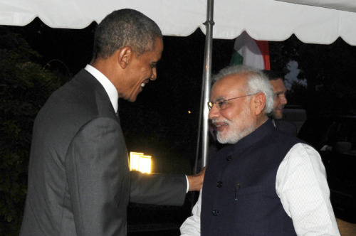 The President Barack Obama of the United States welcomes the Prime Minister, Shri Narendra Modi, at the dinner hosted in his honour, at the White House, in Washington DC .FILE PHOTO