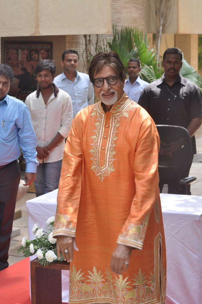Actor Amitabh Bachchan speaks to the media on his 72nd birthday at his residence in Mumbai on October 11, 2014. (Photo: IANS)